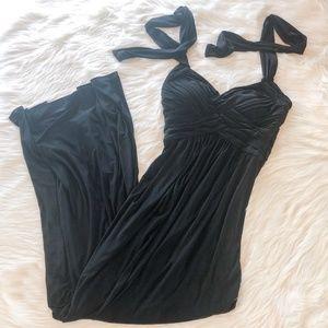 BCBG Paris Halter Neck Mermaid Long Black Dress